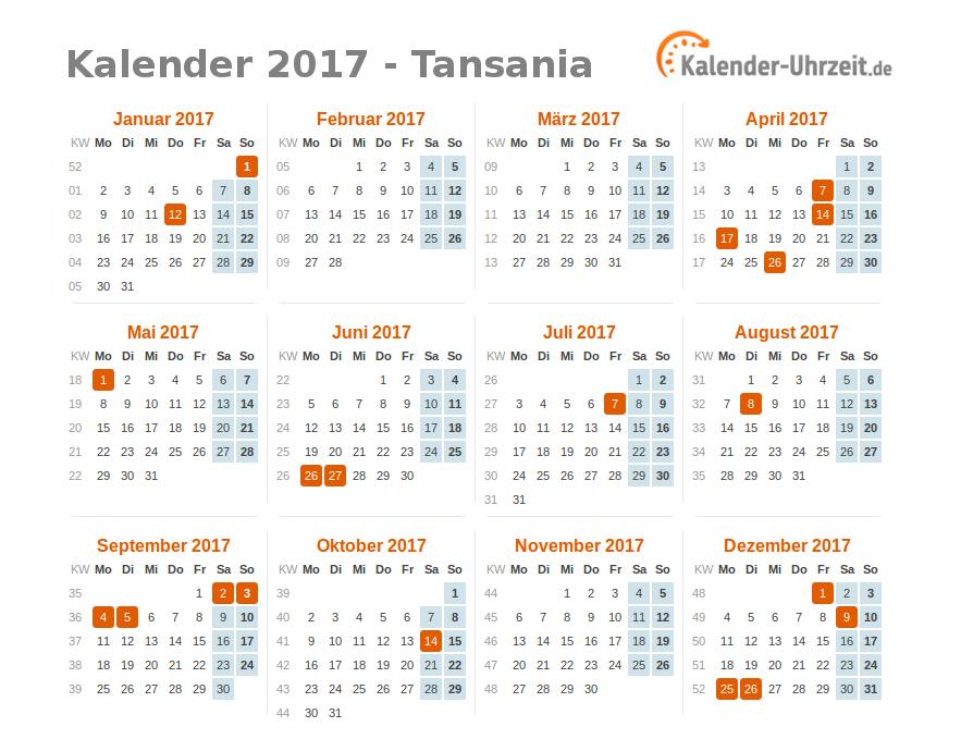 feiertage 2017 tansania kalender bersicht. Black Bedroom Furniture Sets. Home Design Ideas