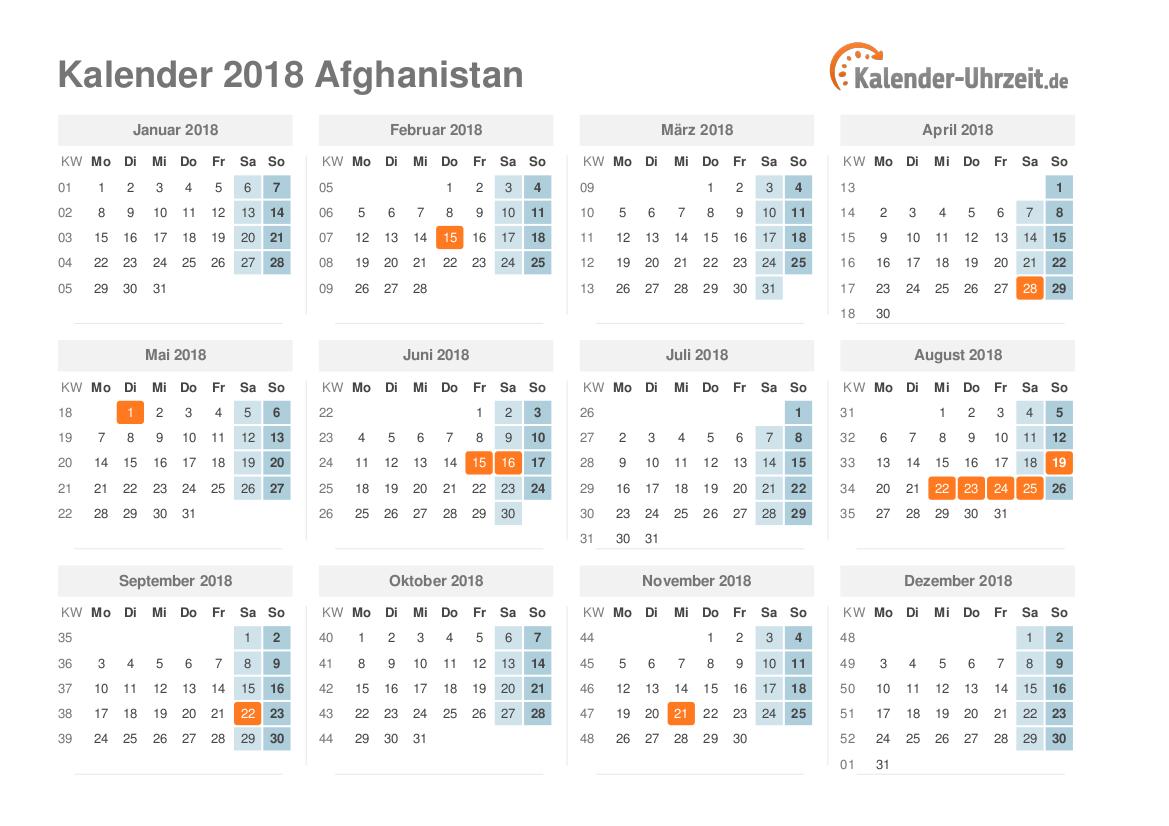 Kalender 2018 Afghanistan mit Feiertagen