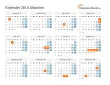 Kalender 2018 Albanien mit Feiertagen