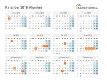 Kalender 2018 Algerien mit Feiertagen