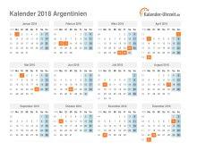 Kalender 2018 Argentinien mit Feiertagen