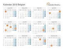Kalender 2018 Belgien mit Feiertagen