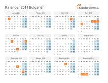 Kalender 2018 Bulgarien mit Feiertagen