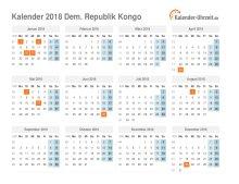 Kalender 2018 Dem. Republik Kongo mit Feiertagen