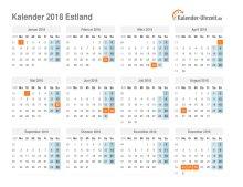 Kalender 2018 Estland mit Feiertagen