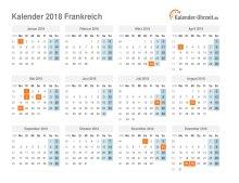 Kalender 2018 Frankreich mit Feiertagen