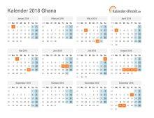 Kalender 2018 Ghana mit Feiertagen