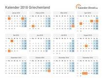 Kalender 2018 Griechenland mit Feiertagen