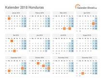 Kalender 2018 Honduras mit Feiertagen