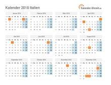 Kalender 2018 Italien mit Feiertagen