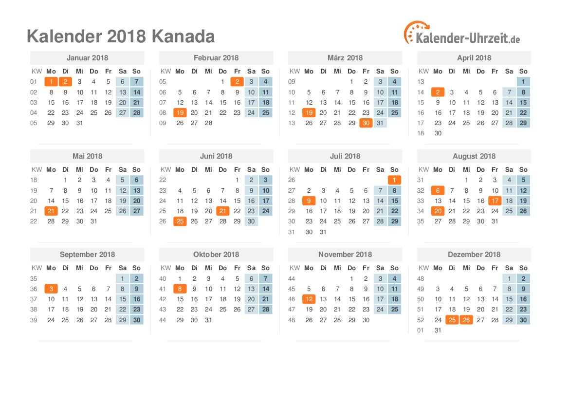 Kalender 2018 Kanada mit Feiertagen