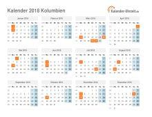 Kalender 2018 Kolumbien mit Feiertagen