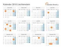 Kalender 2018 Liechtenstein mit Feiertagen