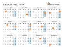 Kalender 2018 Litauen mit Feiertagen