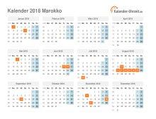 Kalender 2018 Marokko mit Feiertagen
