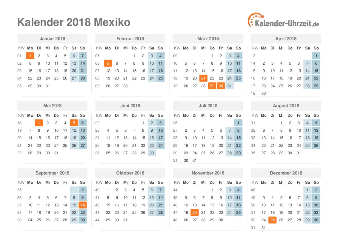 Kalender 2018 Mexiko mit Feiertagen