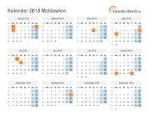 Kalender 2018 Moldawien mit Feiertagen