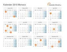 Kalender 2018 Monaco mit Feiertagen