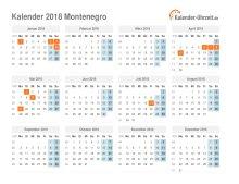 Kalender 2018 Montenegro mit Feiertagen