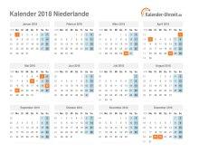 Kalender 2018 Niederlande mit Feiertagen