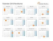 Kalender 2018 Nordkorea mit Feiertagen