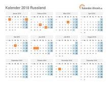 Kalender 2018 Russland mit Feiertagen