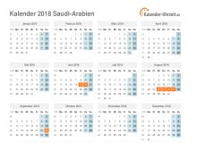 Kalender 2018 Saudi-Arabien mit Feiertagen