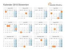 Kalender 2018 Slowenien mit Feiertagen