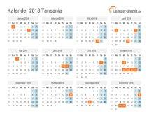 Kalender 2018 Tansania mit Feiertagen
