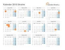 Kalender 2018 Ukraine mit Feiertagen