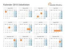 Kalender 2018 Usbekistan mit Feiertagen