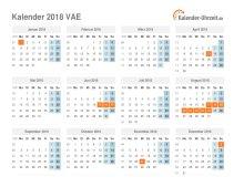 Kalender 2018 VAE mit Feiertagen