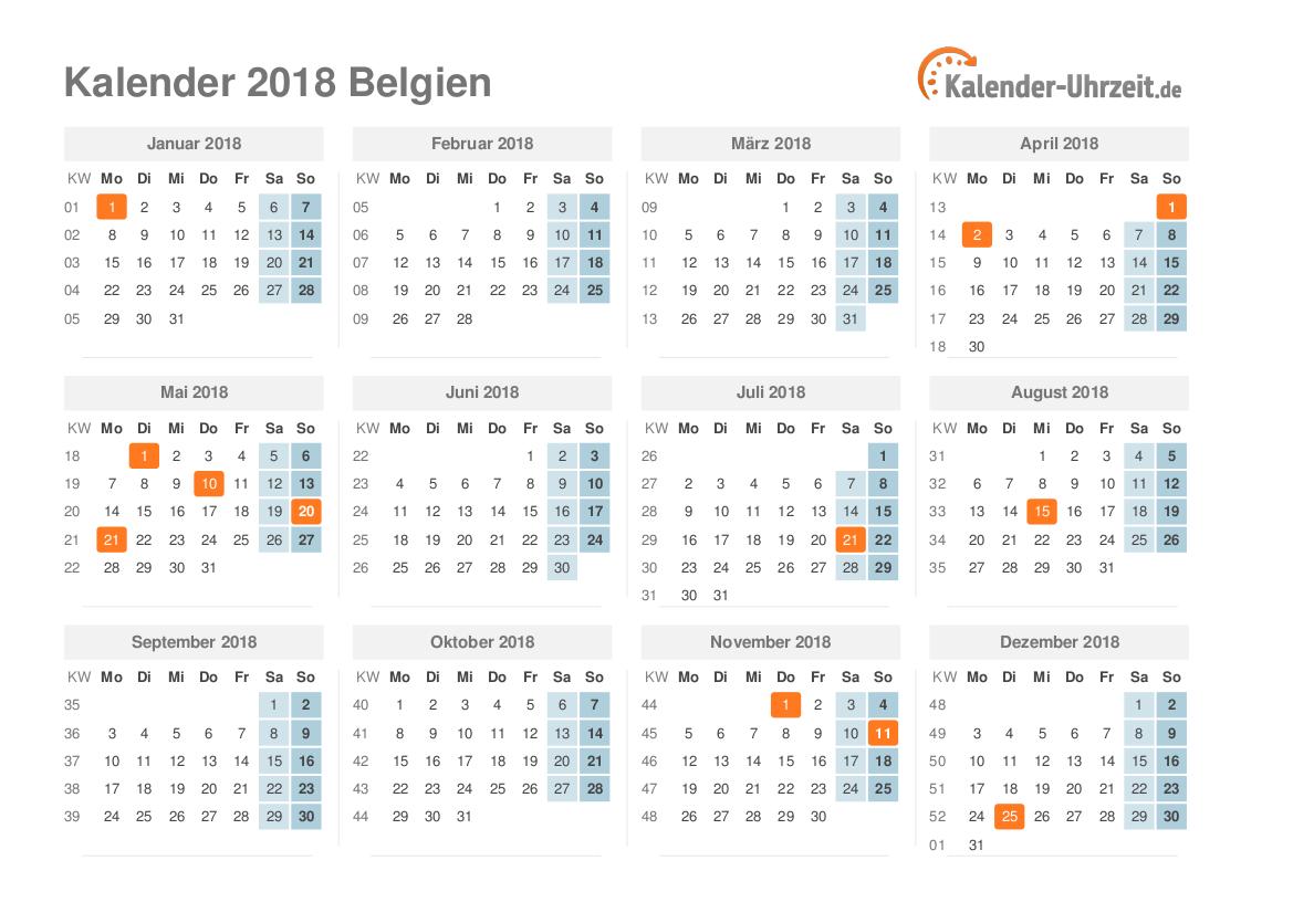 feiertage 2018 belgien kalender bersicht. Black Bedroom Furniture Sets. Home Design Ideas