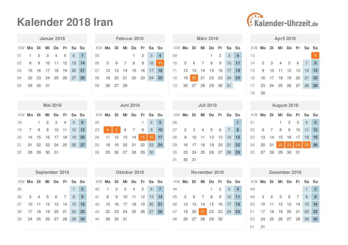 feiertage 2018 iran kalender bersicht. Black Bedroom Furniture Sets. Home Design Ideas