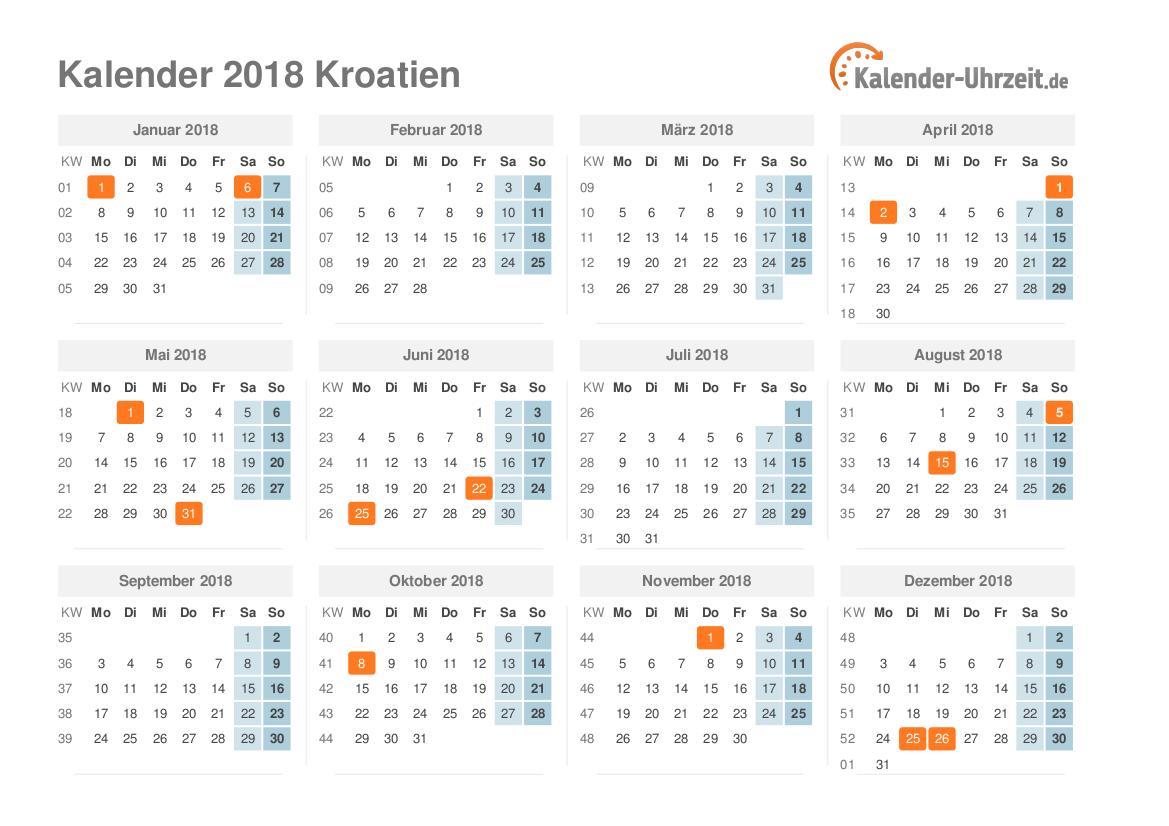 feiertage 2018 kroatien kalender bersicht. Black Bedroom Furniture Sets. Home Design Ideas