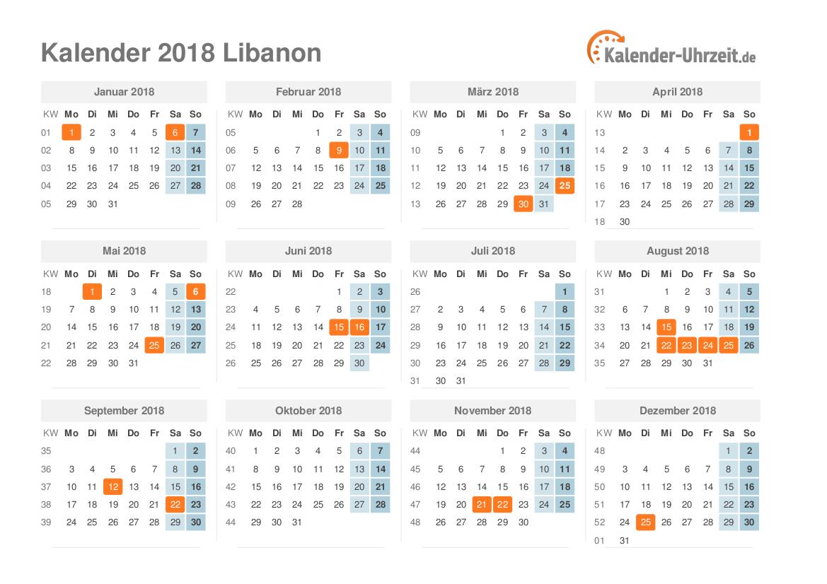 feiertage 2018 libanon kalender bersicht. Black Bedroom Furniture Sets. Home Design Ideas