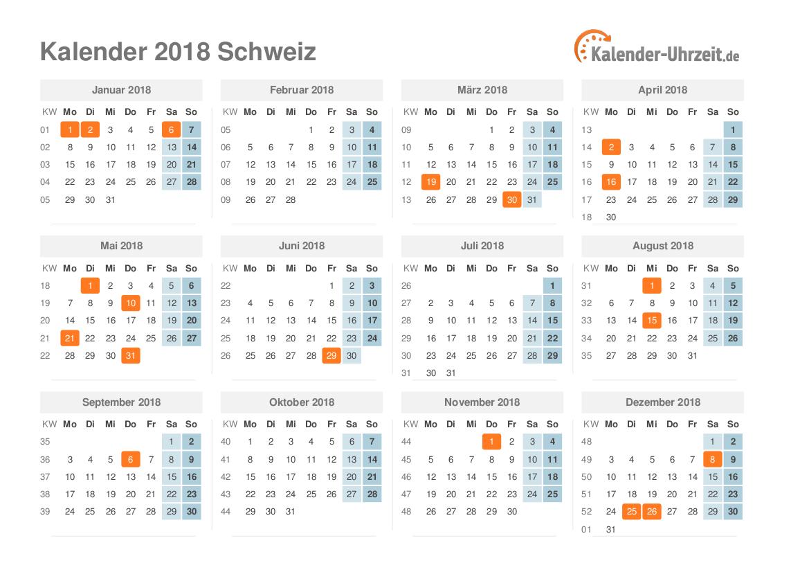Feiertage 2018 Schweiz Kalender übersicht