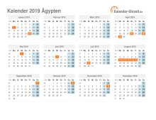 Kalender 2019 Ägypten mit Feiertagen
