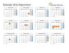 Kalender 2019 Afghanistan mit Feiertagen