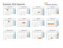 Kalender 2019 Albanien mit Feiertagen