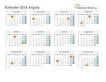 Kalender 2019 Angola mit Feiertagen
