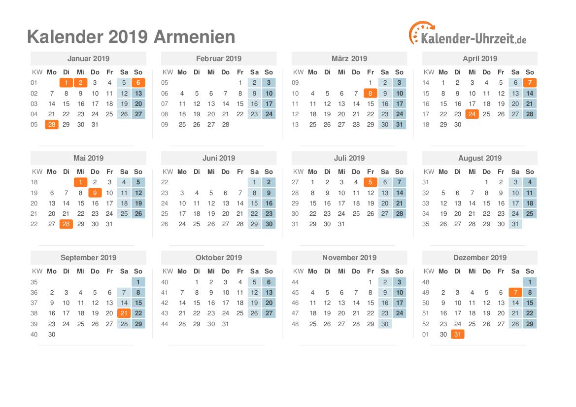 Kalender 2019 Armenien mit Feiertagen