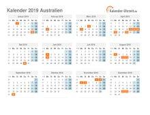 Kalender 2019 Australien mit Feiertagen