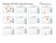 Kalender 2019 Dem. Republik Kongo mit Feiertagen