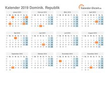 Kalender 2019 Dominik. Republik mit Feiertagen