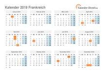 Kalender 2019 Frankreich mit Feiertagen