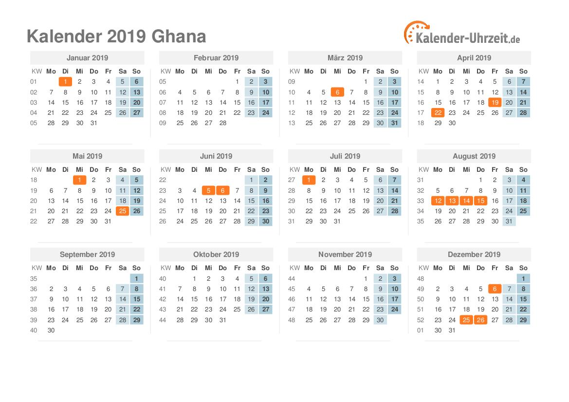 Kalender 2019 Ghana mit Feiertagen