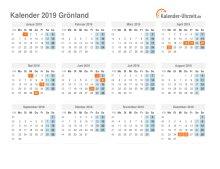 Kalender 2019 Grönland mit Feiertagen