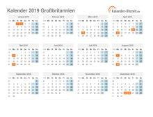 Kalender 2019 Großbritannien mit Feiertagen