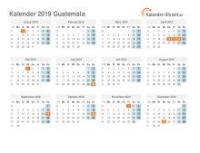 Kalender 2019 Guatemala mit Feiertagen